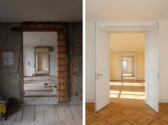 Enfilade der Räume während der Baustelle und nachher. © Kaufmann Architekten AG  / Beat Bühler