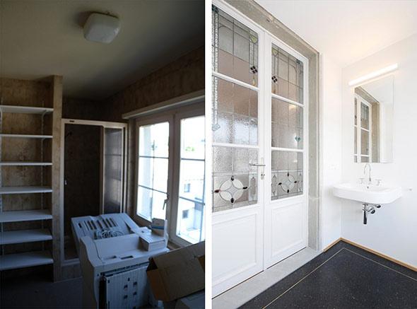 Dusche/WC im Obergeschoss vorher und nachher. © Kaufmann Architekten AG  / Beat Bühler