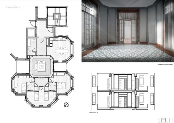 Grundriss Mst 1:33   Wohnungsschnitt   Innenraum   Wohnzimmer    Zürcherstrasse   © Paritteepan Premraj
