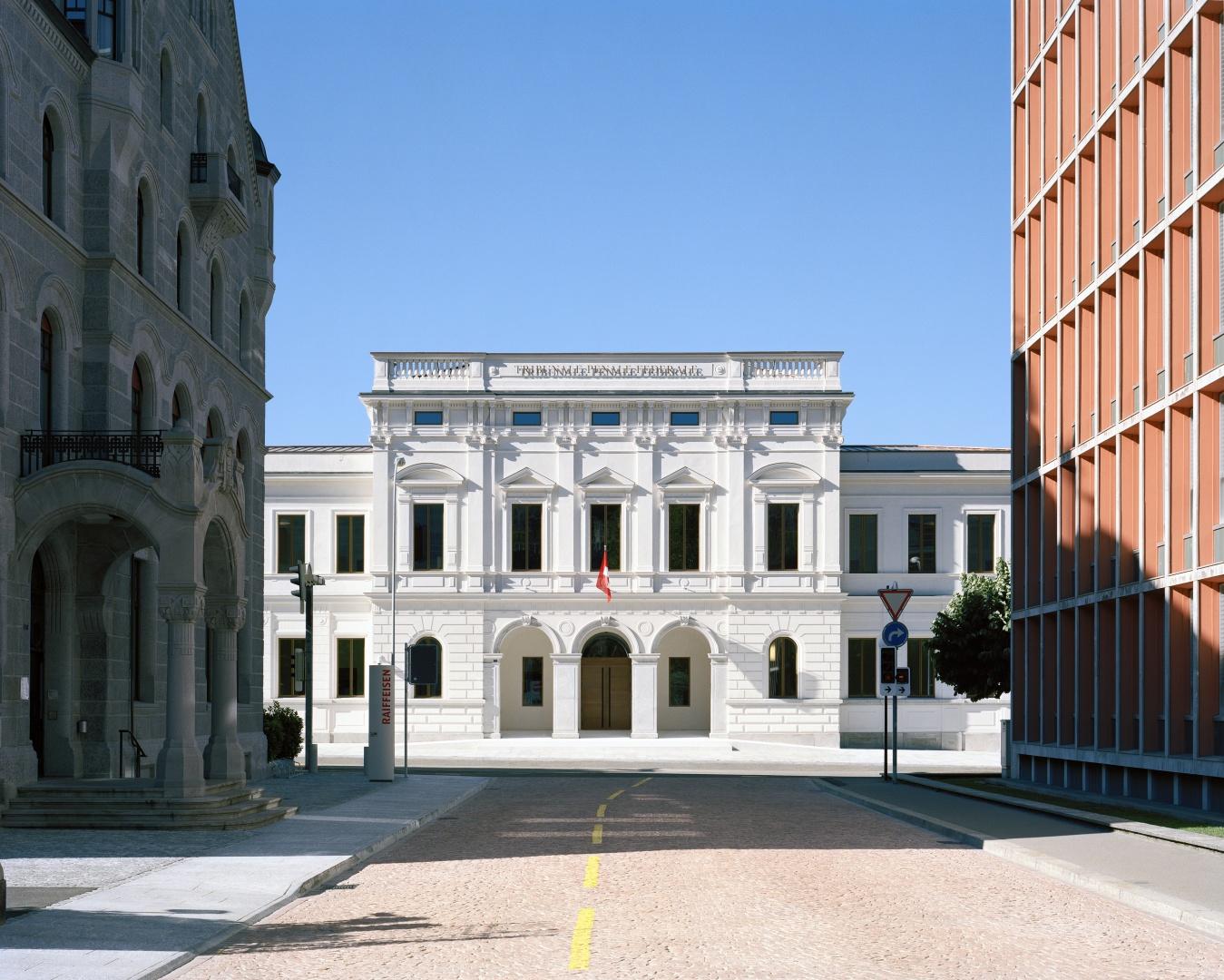 Eingangsfassade ©  Tonatiuh Ambrosetti / Bundesamt für Bauten und Logistik BBL