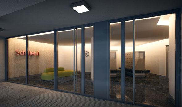 Eingangshalle bei Nacht (Visualisierung) © B+B Planer AG