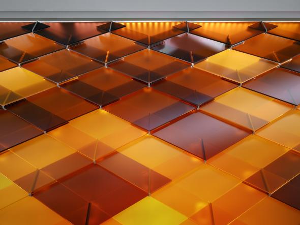 Glasschindelwand Detail © Roger Frei