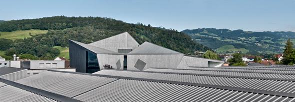 Blick auf die Dächer der Fabrik © Davide Macullo Architects