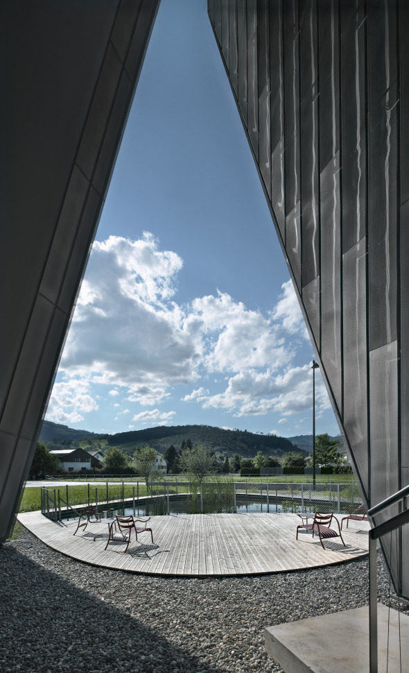Blick auf die Innenlandschaft © Davide Macullo Architects