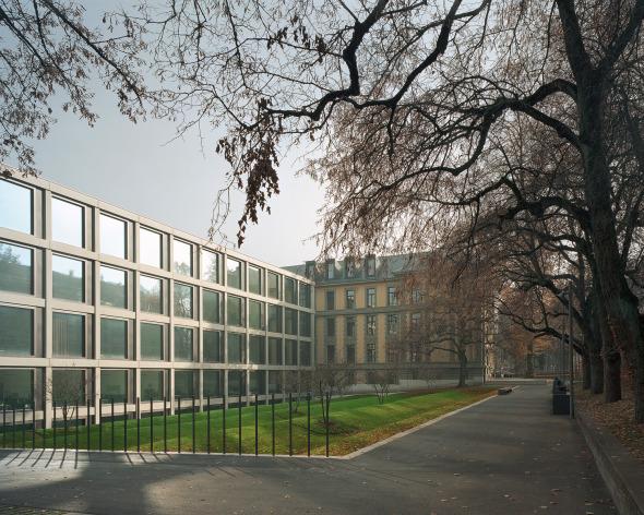 Vue bâtiment neuf, jardin © Photo: Walter Mair, Zürich