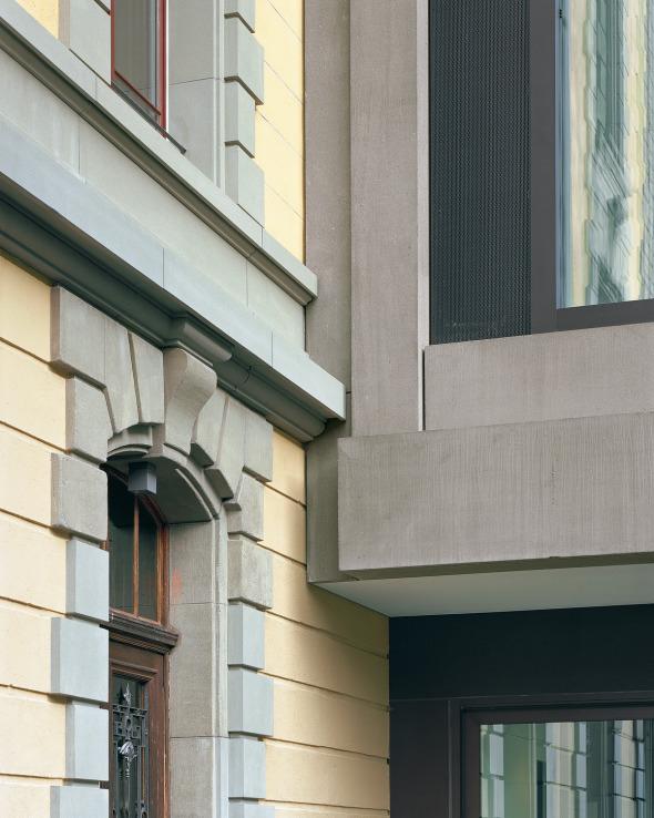 Connexion bâtiment neuf/ ancien © Photo: Walter Mair, Zürich
