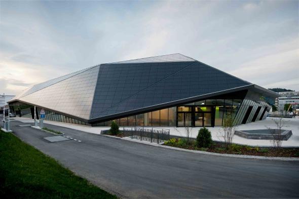 Umwelt Arena Perspektive Zufahrt © René Schmidt Architekten AG