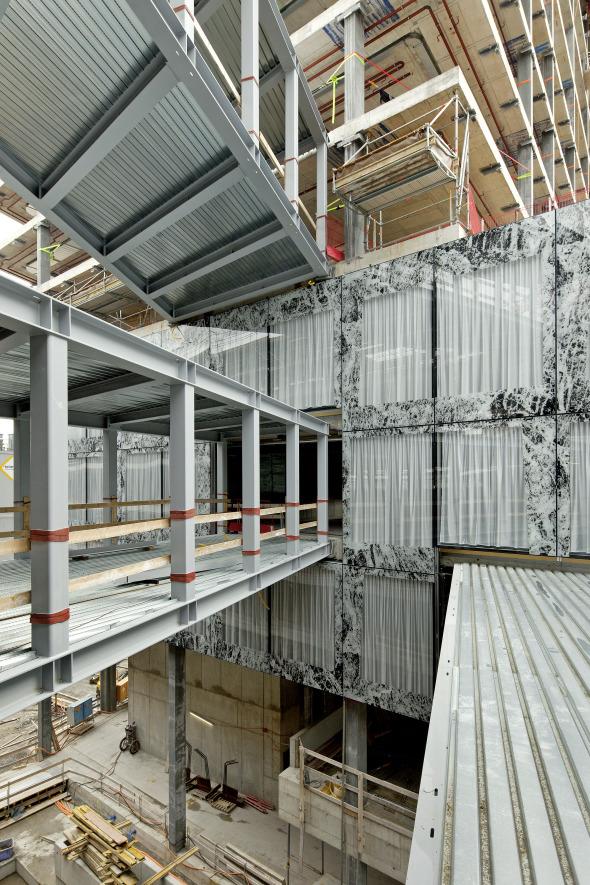 Blick in die Passerellen während der Bauzeit
