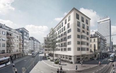 oben - Die mehrgeschossige Aufstockung als Abschluss des Hauses am Beispiel eines Wohngebäudes in Zürich Oerlikon