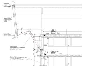 Detail vom Anschluss Fassade - Dachvolumen Neubau Baukeramik Hardwald von HZDS AG