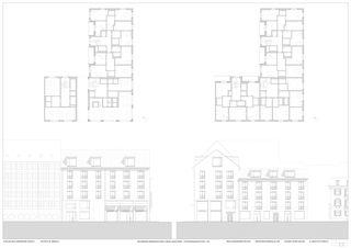 GRUNDRISS OBERGESCHOSS & REGELGESCHOSS, STRASSENANSICHTEN 1:100 Aparthotel am Klingenpark von