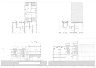 GRUNDRISSE DACHGESCHOSS, SCHNITTANSICHTEN HOF 1:100 Aparthotel am Klingenpark von