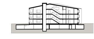 Maison-D coupe est-ouest Wohnüberbauung Widenbüel de ARGE architektick_ScherrerValentin_MMT