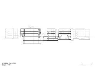 Coupe 1:500 Flon Pépinières Nouveau bâtiment de culture, de formation et de loisirs von Burckhardt+Partner SA