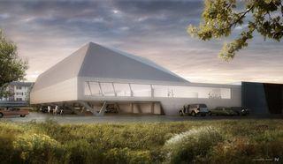 Visualisierung © NightNurse Badmintonhalle Langnau am Albis von Jan Henrik Hansen, Rolf Iseli, Dipl. Architekten ETH SIA