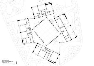 Erdgeschoss 1:300 Schulhaus Zinzikon von Adrian Streich Architekten AG
