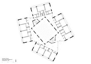 Obergeschoss 1:300 Schulhaus Zinzikon von Adrian Streich Architekten AG