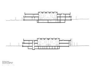 Schnitt AA, Schnitt BB 1:300 Schulhaus Zinzikon von Adrian Streich Architekten AG