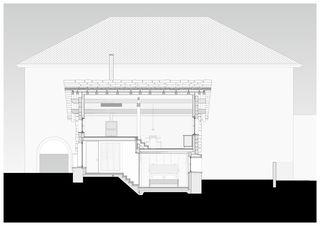 Coupe kongitudinale_sud_50 Cà Vegia von Atelier Ivan Beer