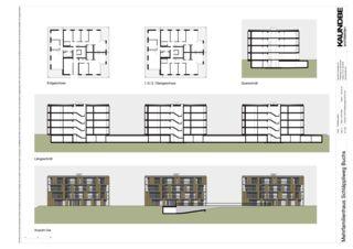 Grundrisse, Ansichten, Schnitt 1:333 Mehrfamilienhäuser Schläppliweg Buchs von Kaundbe Architekten AG