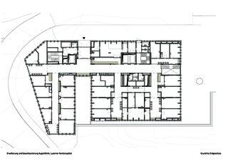 Grundriss Erdgeschoss Erweiterung und Gesamtsanierung Augenklinik, Luzerner Kantonsspital von Schneider & Schneider Architekten ETH BSA SIA AG
