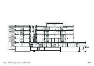 Schnitt Erweiterung und Gesamtsanierung Augenklinik, Luzerner Kantonsspital von Schneider & Schneider Architekten ETH BSA SIA AG