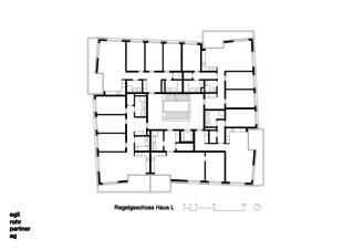 Étage principal Maison L Verdichtung Wohnsiedlung Frankental Zürich-Höngg de ERP Architekten AG