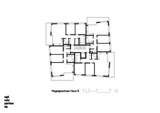 Étage principal Maison S  Verdichtung Wohnsiedlung Frankental Zürich-Höngg de ERP Architekten AG