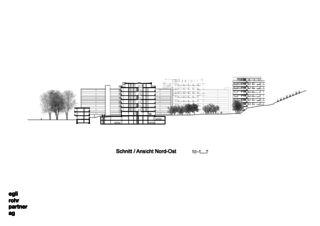 Coupe / Vue Nord-Est Verdichtung Wohnsiedlung Frankental Zürich-Höngg de ERP Architekten AG