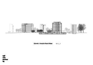 Coupe / Vue Nord-Ouest Verdichtung Wohnsiedlung Frankental Zürich-Höngg de ERP Architekten AG