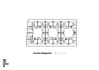 Grundriss Attikageschoss Wohnüberbauung Letzihof Zürich von ERP Architekten AG