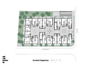 Grundriss Erdgeschoss mit Situation Wohnüberbauung Letzihof Zürich von ERP Architekten AG