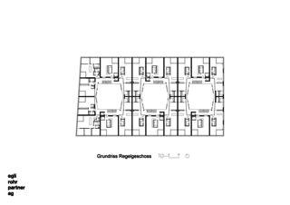 Grundriss Regelgeschoss Wohnüberbauung Letzihof Zürich von ERP Architekten AG