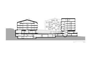 Schnitt Ost-West  Gebäude &Hof Hotel Frutt Family Lodge & Melchsee Apartments de architekturwerk ag