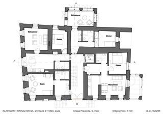 Erdgeschoss Chesa Pravenda S-chanf von Architects ETH/SIA<br/>