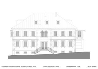 Nordostfassade Chesa Pravenda S-chanf von Architects ETH/SIA<br/>
