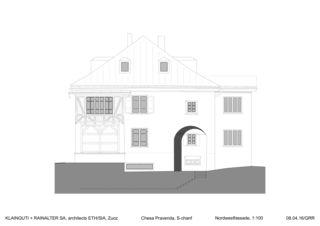 Nordwestfassade Chesa Pravenda S-chanf von Architects ETH/SIA<br/>
