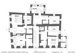 1. Obergeschoss Chesa Pravenda S-chanf von Architects ETH/SIA<br/>