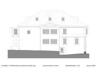 Südwestfassade Chesa Pravenda S-chanf von Architects ETH/SIA<br/>