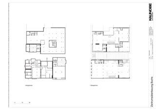Untergeschoss+1.Obergeschoss 1:500 Zentrumsüberbauung Buchs von Kaundbe Architekten AG