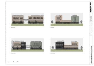 Ansichten 1:500 Zentrumsüberbauung Buchs von Kaundbe Architekten AG