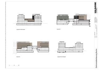 Schnitte 1:500 Zentrumsüberbauung Buchs von Kaundbe Architekten AG