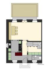 Erdgeschoss Wohnen Arbeiterhaus in Einfamilienhaus von Eduard Otto Baumann<br/>