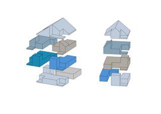 Isometrie - Wohnungen mit doppelgeschossigem Wohnraum Wohnensemble in Erlenbach  von wild bär heule architekten ag