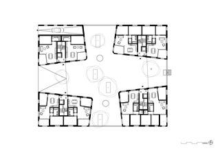 Erdgeschoss Geviert - Wohnüberbauung in Näfels von wild bär heule architekten ag