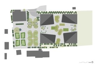 Umgebungsplan mit Hofgestaltung Geviert - Wohnüberbauung in Näfels von wild bär heule architekten ag