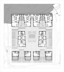Grundriss des vierten Geschosses Areal Giessen von Max Dudler Architekten AG