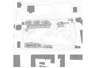 Situation Neubau Wohnungen im Patumbah-Park, Zürich von Architekturbüro<br/>