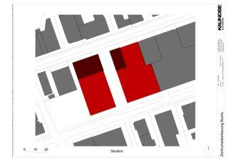 Situation 1:500 Zentrumsüberbauung Buchs von Kaundbe Architekten AG