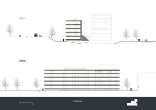 Ansicht Südost & Südwest Privera Hauptsitz von Marazzi + Paul Architekten AG